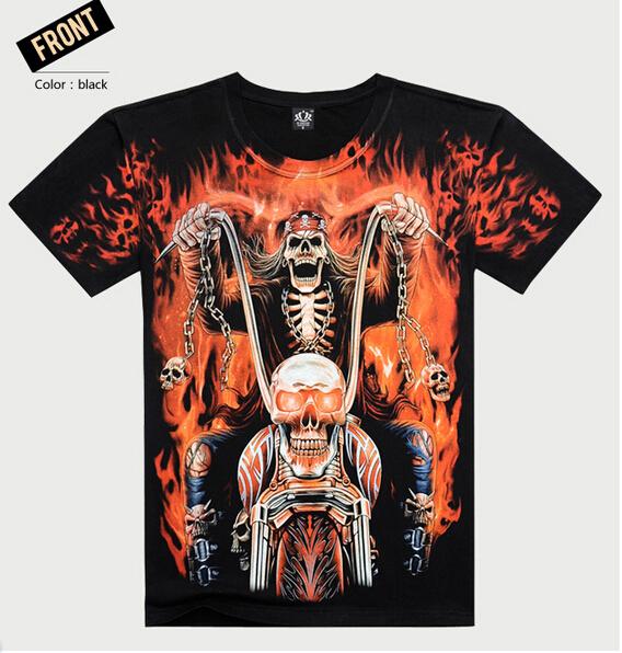 CM057 2015 New hot men summer 3D t shirt,street fashion models love fashion skull flame soul chariot Rock T-shirt Men Clothes(China (Mainland))