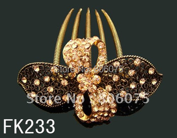 Wholesale Women's vintage zinc alloy rhinestone flowers hair Combs Hair Accessories Free shipping 12pcs lot mixed color  FK233