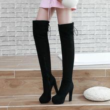 Sahte Süet Uyluk Çizmeler Kalın Yüksek Topuk Uyluk Çizmeler Moda Platformu Yan Fermuar Diz Ayakkabı Kadın Kırmızı Mavi siyah 2018(China)
