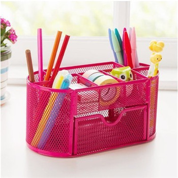 Large colorful stationery holder with storage drawers - Cute desk organizer ...