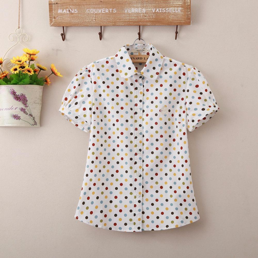 New Arrived Women Polk Dot Short Sleeve Cotton Shirt Blouse High Quality Women Blusa Feminina Women Cute Slim Tops(China (Mainland))