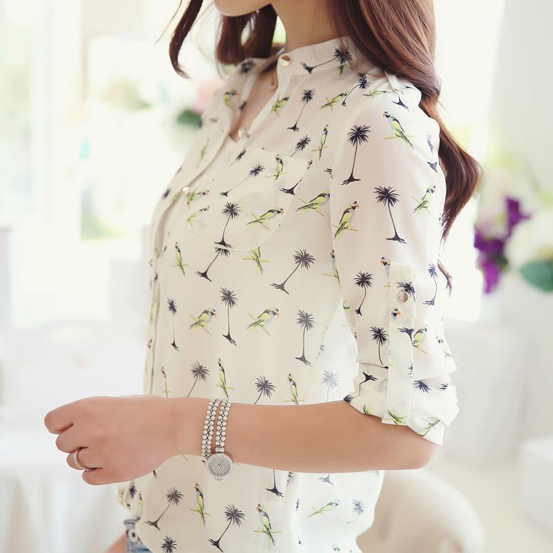 2016 Women Blouses Body Tassel Solid Casual Lycra Aliexpress's New Hot Selling Women's Autumn Birds Dot Chiffon Shirt Collar(China (Mainland))
