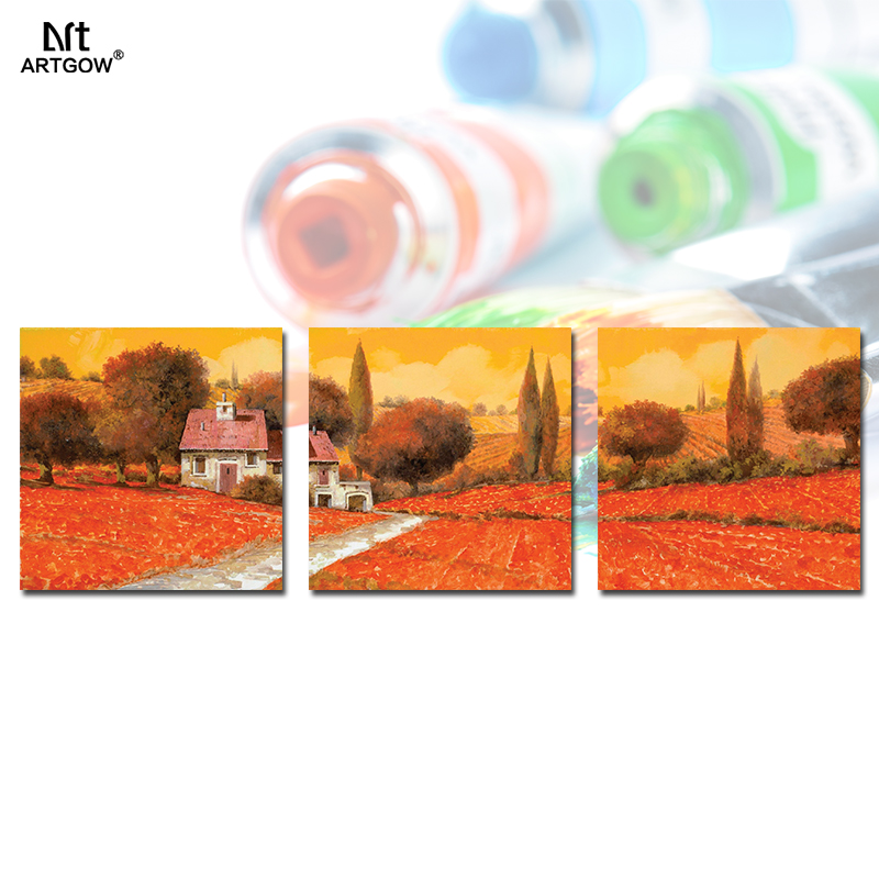 Red Orange Flowers village Landscape Picture 3 pcs decoration Canvas Painting wall Art print living room home decor unframed(China (Mainland))