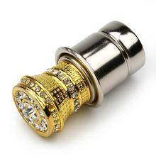 Luxury Aluminum Car Cigarette Lighter With Small Crystal Rhinestones Golden Auto Accessories HA10594(China (Mainland))