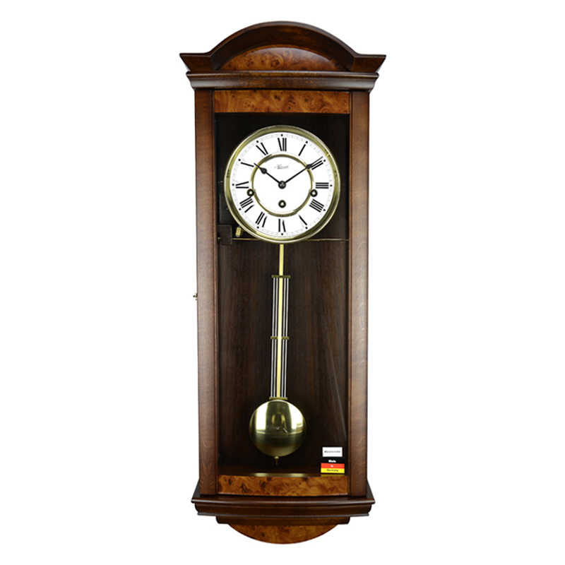 Classic walnut color antiqued gold mechanical clock pendulum 8 days storage(China (Mainland))
