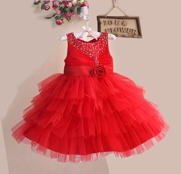 High Quality Baby Party Dress Diamond Sleeveless Flower Girl Dress Children Flower Tutu Dress Kid'Celebration Dress Wholesale