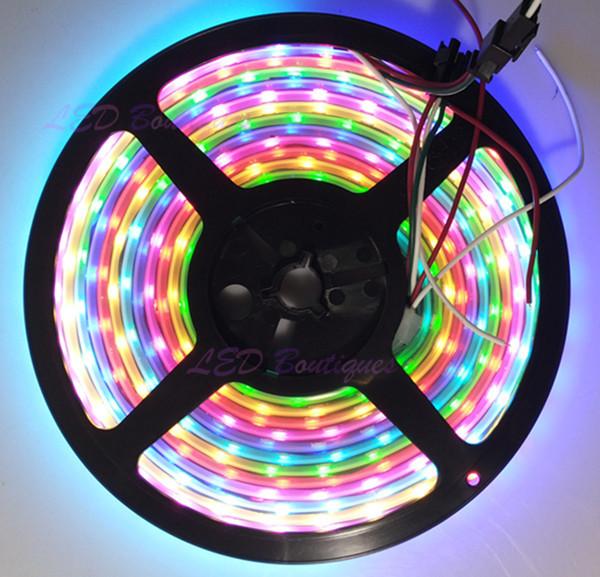 10x5M WS2812B WP BLACK PCB ws2811 ic built-in 60leds/M 5050 RGB LED Digital Strip DC5V led strip lights(China (Mainland))