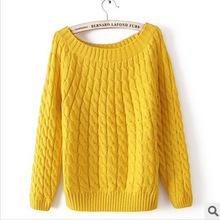 2015 fall fashion retro sweater coat dress Hemp flowers size knit thickened head