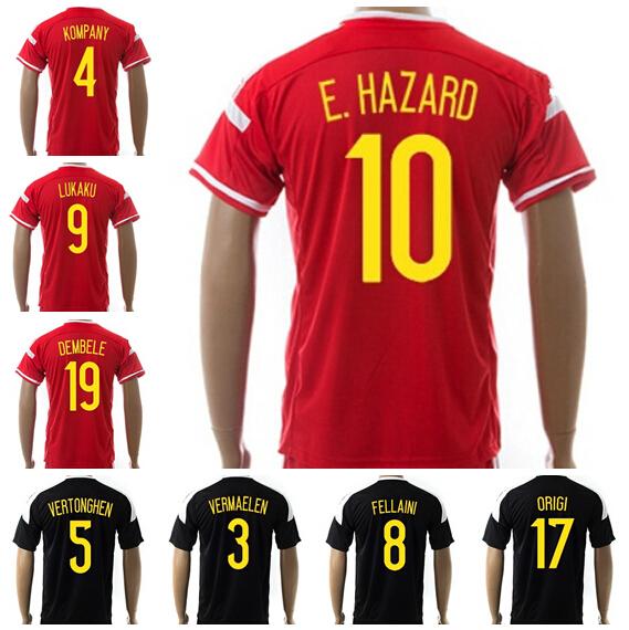 Belgium Jerseys Soccer Eden Hazard Football Shirt Vincent Kompany 7 De Bruyne 8 FELLAINI 19 DEMBELE 6 WITSEL 14 Mertens 17 ORIGI(China (Mainland))