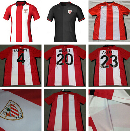 2015 2016 Athletic Bilbao Home Soccer Jerseys 15 16 Athletic Bilbao Football Jersey ITURRASPE MUNIAIN ADURIZ Bilbao Futbol Shirt(China (Mainland))