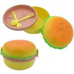 3 layers Round hamburger boxes lunch box tableware bowl bowls container containers cooking tools talheres bento box salad bowl(China (Mainland))