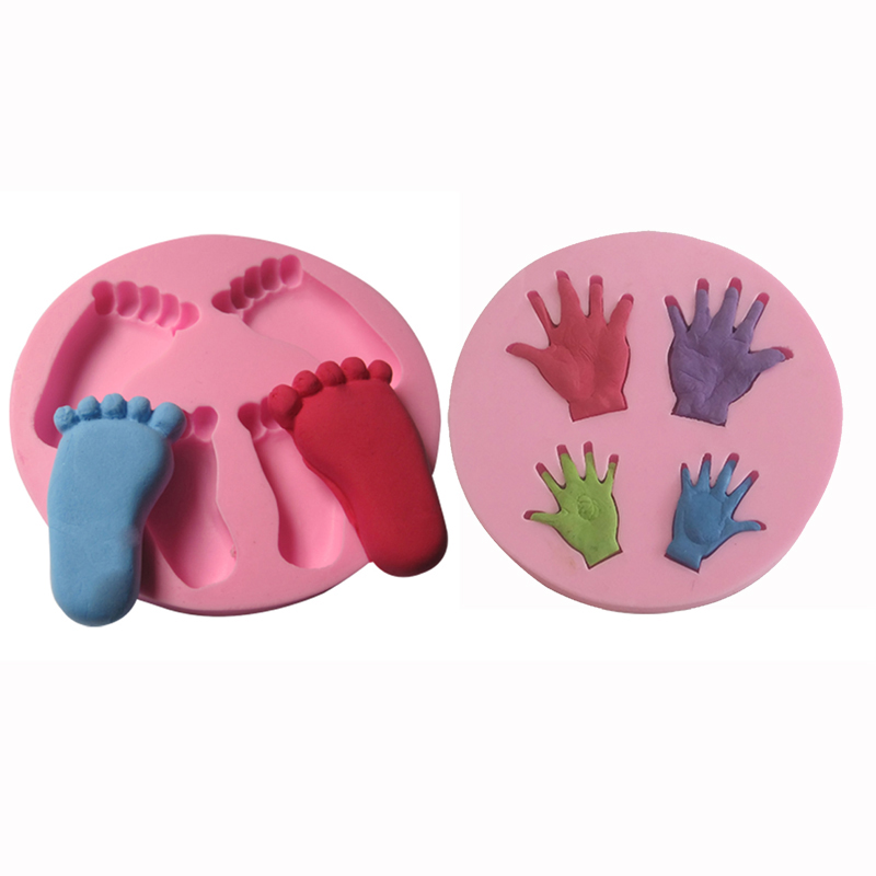 Baby set silicone cake mold fondant baby hands feet mold for Baby footprints cake decoration