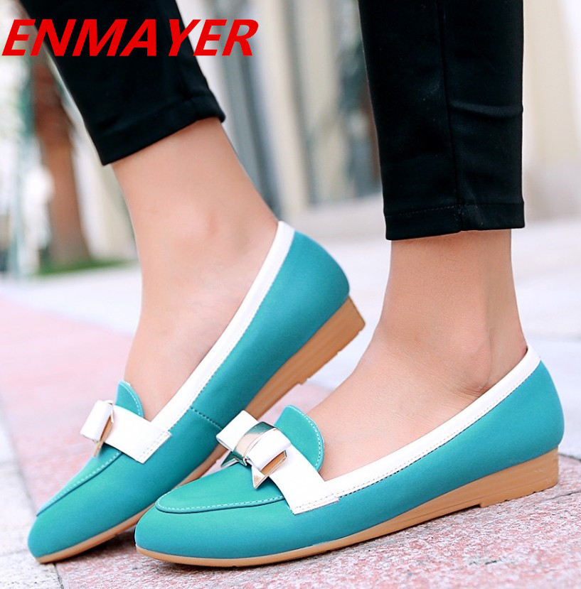 ENMAYER new 2014 brand fashion vintage flat shoes for women bow womens spring summer shoes pink, blue, white<br><br>Aliexpress