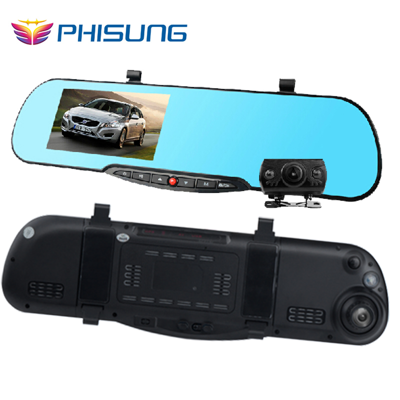 4 3inch Blue Mirror Dual lens car auto dvr camera 1080p parking dvrs car video recorder