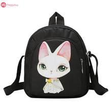 3 Candy Colors Cute Big Cartoon Rabbit Print Women Girl Mini Shoulder Bags Nylon Messenger Handbags For School Travel(China)