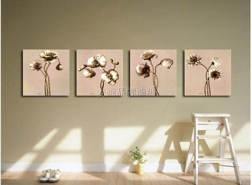 Modern picture frame decorative painting entranceway pure hand painting oil painting entranceway mural 4 collages flower m885(China (Mainland))