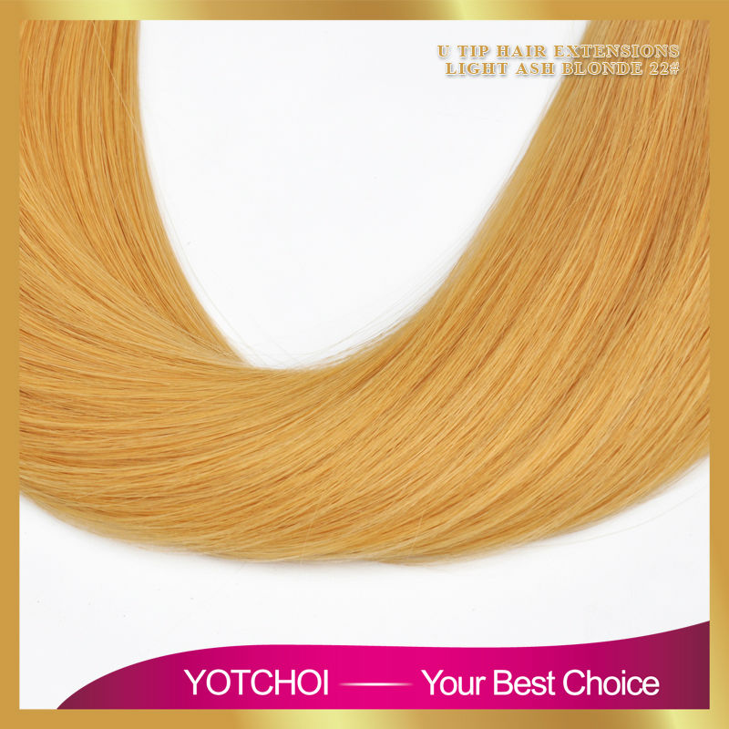 Yotchoi flat tip hair extension light ash blonde colour 22# 1g/pcs 100pcs/set straight karetin pre bonded human hair extensions