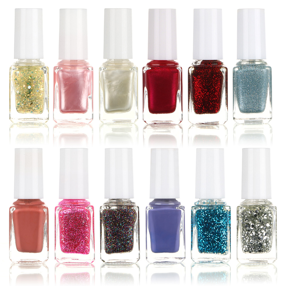 HOT 6ml Glitter Pure Color Nail Polish Nail Decoration Nail Art Beauty Tools 12pcs/set 07set