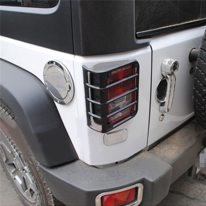 2pcs For Jeep Wrangler JK 07 08 09 10 11 12 13 14 15 Black Metal Billet Tail Light Guards Covers Protector Free Shipping