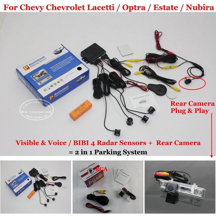 Car Parking Sensors + Rear View Back Up Camera = 2 in 1 Visual / BIBI Alarm Parking System For Chevy Chevrolet Estate Nubira