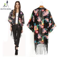 2016 Europe and United States Woman's Blouses Fashion Lace Chiffon Patchwork Loose Shirt Cardigans Kimono Chifffon Coat X52(China (Mainland))