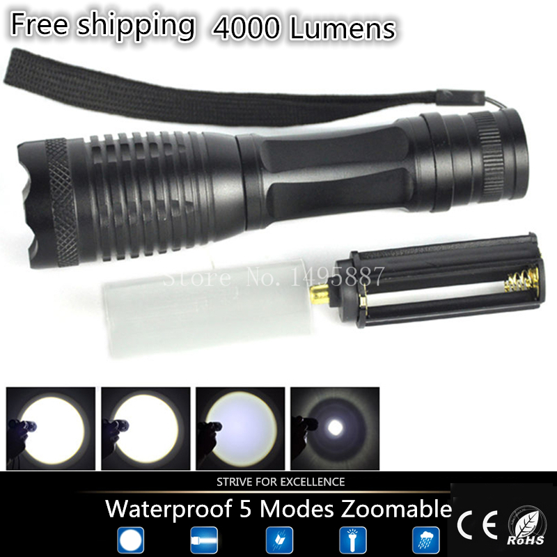 Tactical 4000 lm Led flashlight XML-t6 Torch Zoomable LED Flashlight Torch light lamp torche Lamp camping Outing fishing Cycling(China (Mainland))