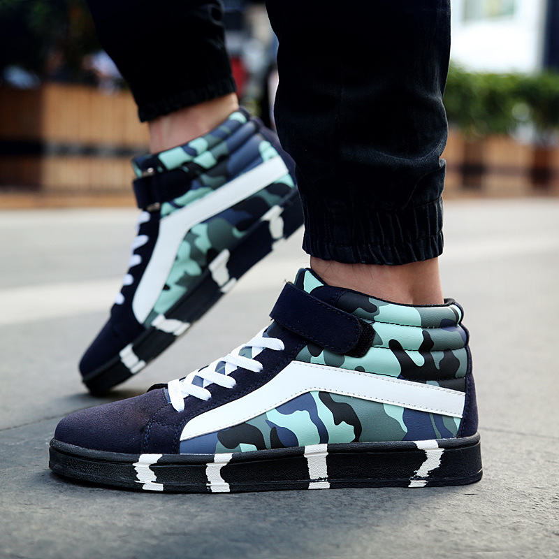 Winter Mens Casual Shoes 2015 Men Trainers Shoes Canvas Autumn High Top Camouflage Men Walking Shoes Breathable Flats Shoes<br><br>Aliexpress