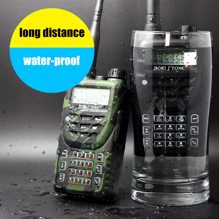 Two Way Radio Waterproof IP67 Fine Signal UHF+VHF UV Dual Band Transceiver Handy LCD Interphone Portable Walkie Talkie PTT(China (Mainland))