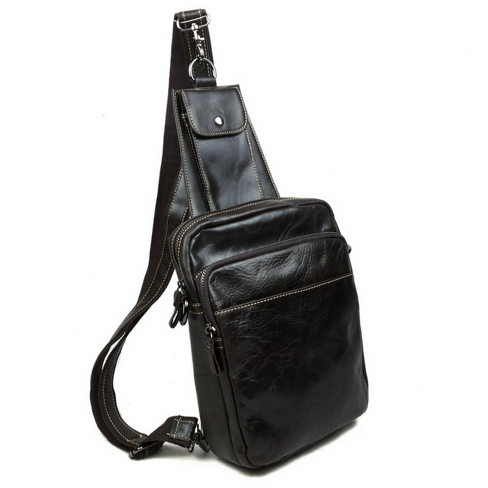 Hot Genuine Leather Men Messenger Bags Crossbody Bags Men Bags Small Chest Pack Cowhide Leather Shoulder Bag Special Offer Q3211