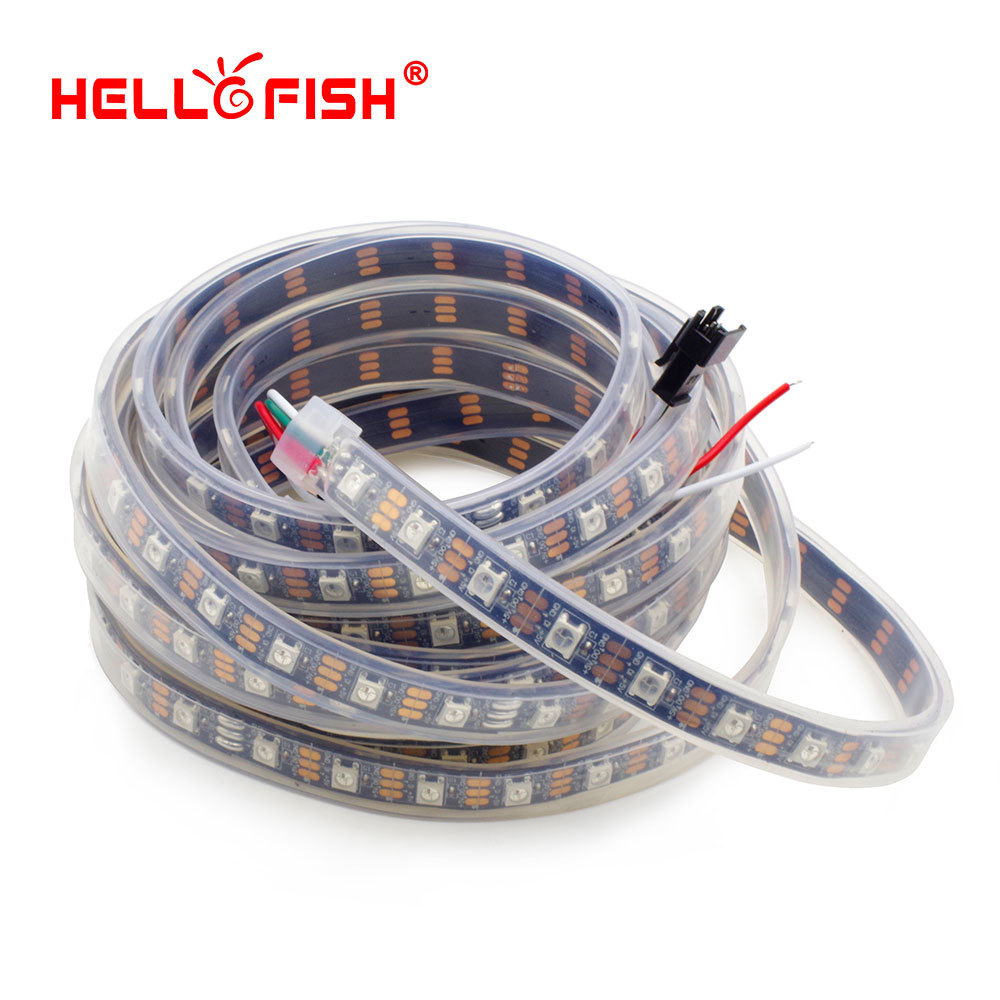 Hello Fish 5m WS2812B Pixels LED Strip IP67 Waterproof, 60 Pixels/m Dream Color LED Tape, Free Shipping(China (Mainland))