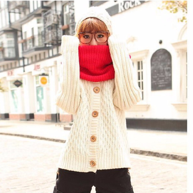 Women Lady Winter Warm Infinity 2 Circle Cable Knit Cowl Neck Long Scarf Shawl For Women Hot Sale Lady