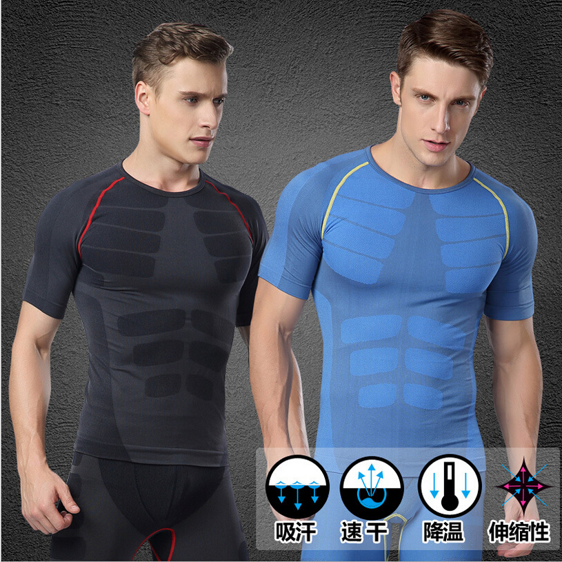 Men's SLIM T shirt Sport Slimming Underwear men's Body Shaper Quick-dry Compression shirts(China (Mainland))