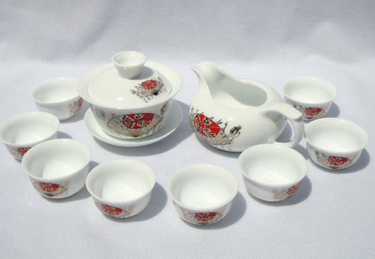 10pcs smart China Tea Set Pottery Teaset Chinese Calligraphy A3TM06 Free Shipping