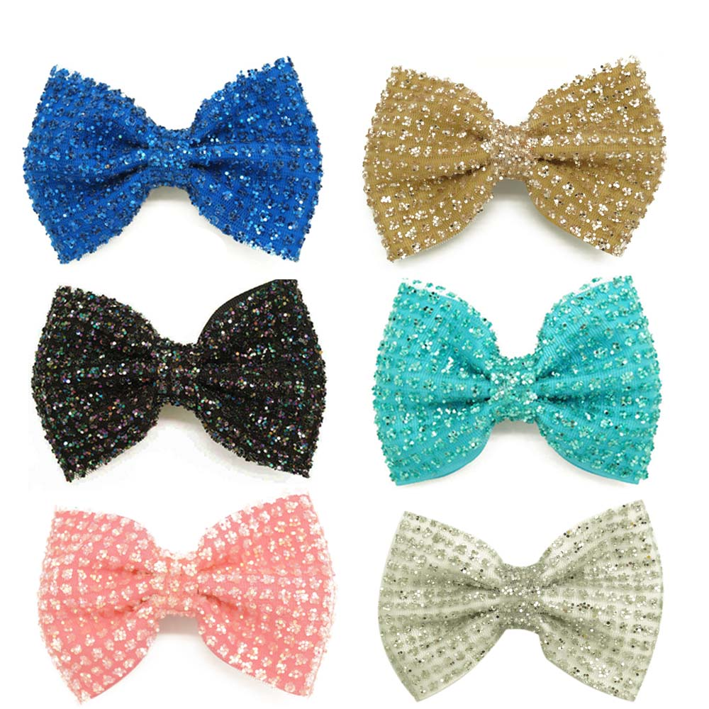 "New Fashion 4.5"" Girls Handmade Sequin Hair Bow Kids Boutique Bling Bows With Clips Children Cute Shining Hair Accessories(China (Mainland))"