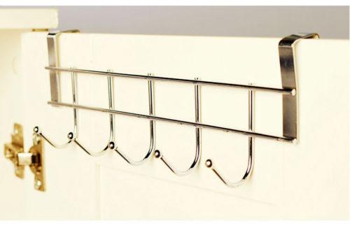 5 hooks Stainless Steel Clothes Hooks Door Rack Bathroom Kitchen bedroom Towel Hanger hanging Loop Organizer(China (Mainland))