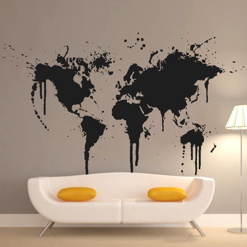 2015 Art App New Design Spray Paint World Map Wall Decal