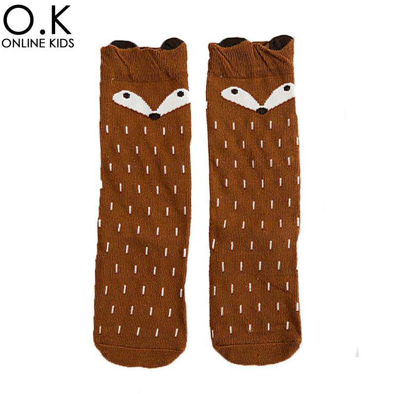 4pairs Animal Panda Elephant Kids Socks Cartoon Totoro Fox Bear Infant Stocks 2017 Fashion Stripe Boys Girls Leg Warmers Sock