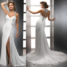 2016 New Design Wholesale Chiffon Flowing Beach Halter Neck Slit Side 2016 Sexy Backless Wedding Dresses With Long Trains(China (Mainland))