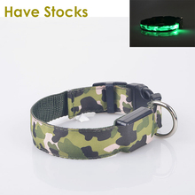 LED Dog Collar For Pet Dogs Light Leads Camouflage Barrack Products For Pet Nylon Glowing Dog Collar(China (Mainland))