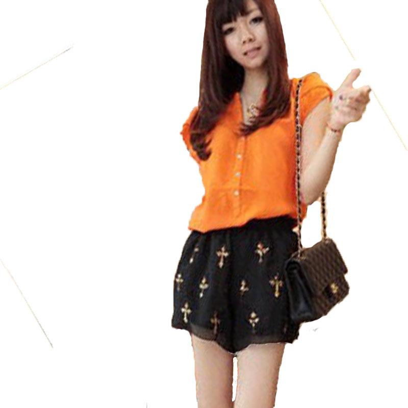 2014 Fashion Women summer Imitated Silk Short Sleeve shirt top Solid Color Chiffon Blouse womens - Beauty Every Day store