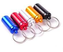 Wholesale small metal container aluminum pill box holder keychain medicine packing bottle package bottle with 2.5cm ring(China (Mainland))