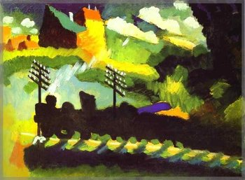 Murnau-View with Railroad and Castle. 1909. Oil on canvas 20x24 inch kandinsky_0012