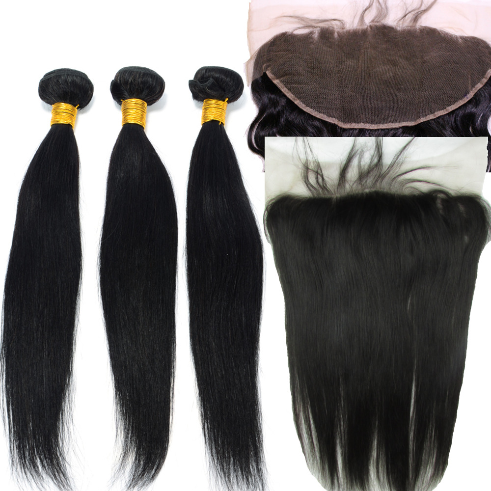 8A 13x6 Lace Frontal Closure With Bundles Straight Hair Products Brazilian Virgin Hair With Closure Bundle Unprocessed Virgin<br><br>Aliexpress