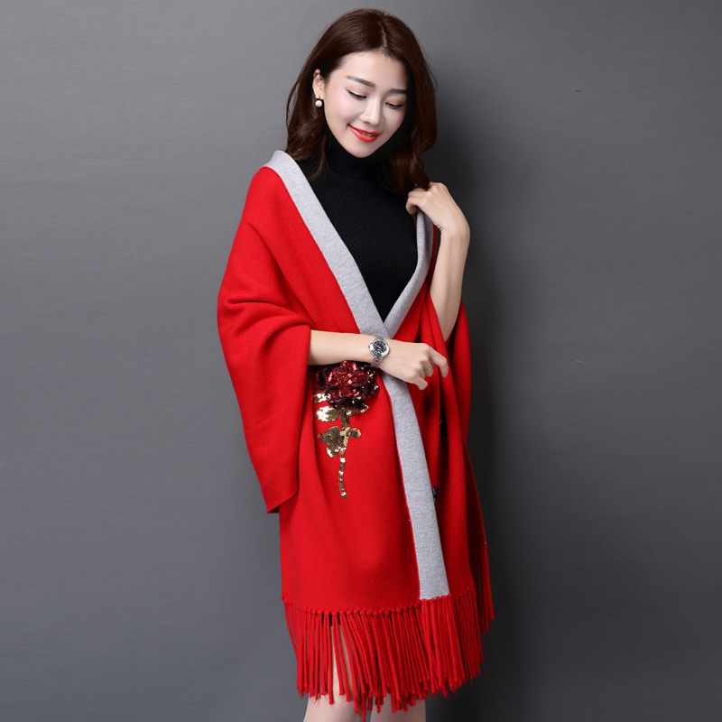 2015 New Winter Autumn poncho Coat Women Cardigan Knitted Plus Size Cashmere Poncho Cardigan Women Sweater Y1226-336F