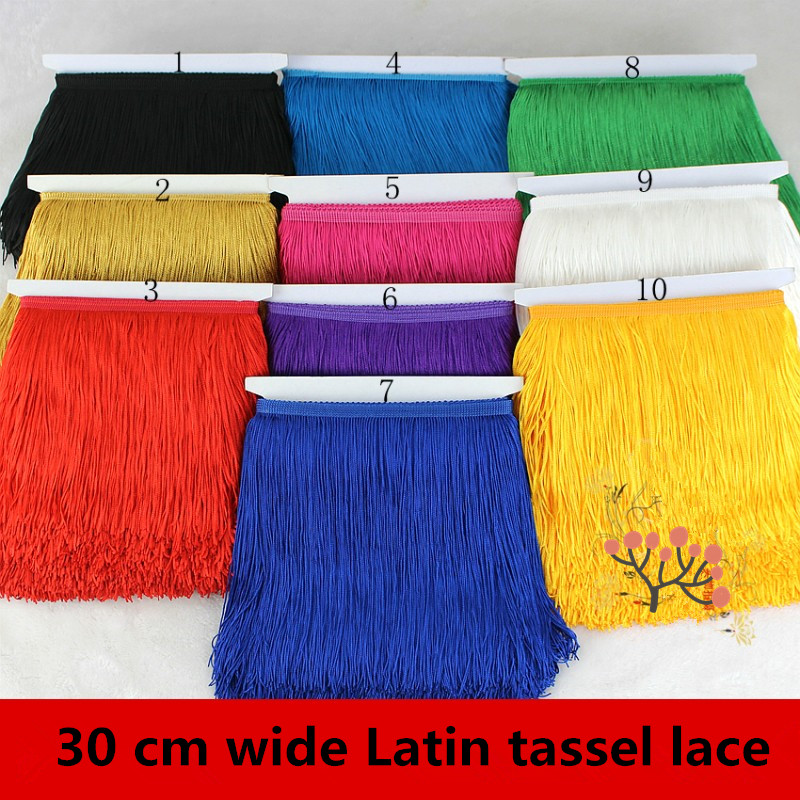 10 meters/lot Hot Sale 30CM Long Polyester Tassel African Lace Fringe Trim For Sew Latin Dress Garment Accessories Ribbon(China (Mainland))