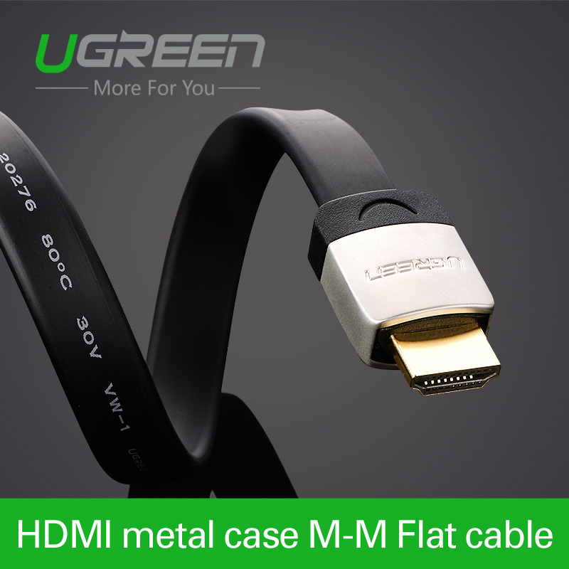 Ugreen HDMI Flat Cable with metal head 1m 2m 3m Male to Male 1.4V 3D 1080P cabo HDMI for PC HDTV PS3 Xbox appletv(China (Mainland))