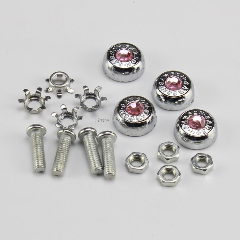 Car Pink Bling Rhinestone License Plate Frame Screws Bolts Caps for Universal<br><br>Aliexpress