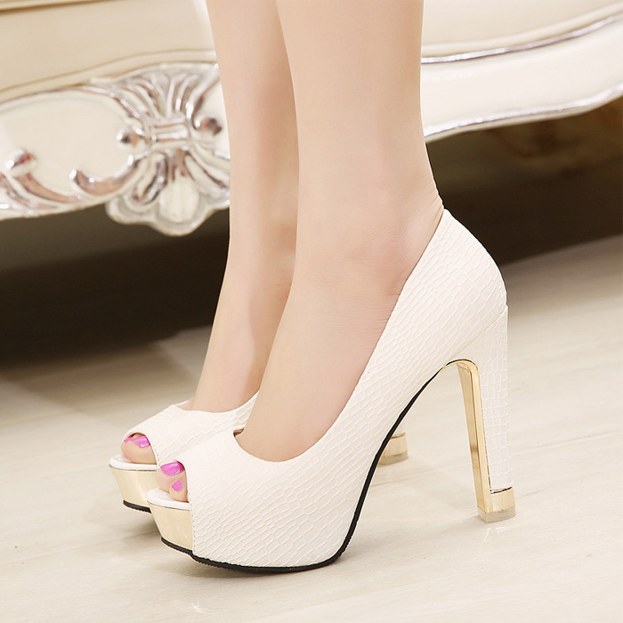 Priced in direct marketing the new 2015 OL wild open toe high heels platform nightclubs crude thick with pure color women pumps(China (Mainland))