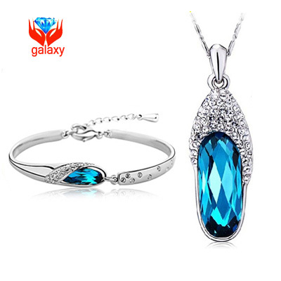 Big Promotion!! 2015 New Style Wedding Jewelry Sets Women Romantic Blue Glass Shoes Crystal Necklace Bracelet Y168 - GALAXY Fine store