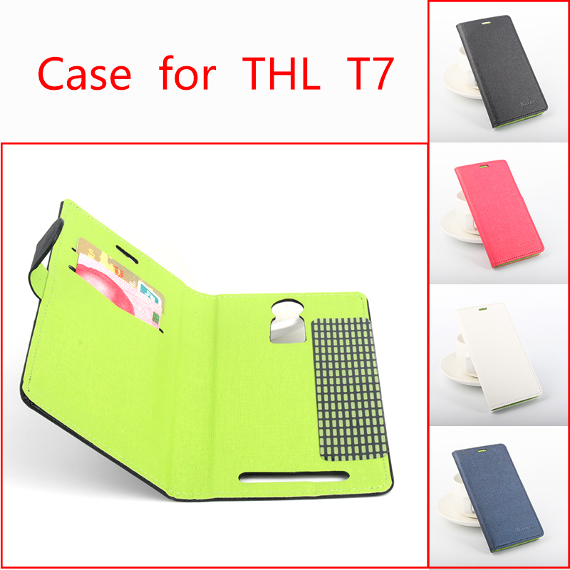 Mixed colors High Quality Leather Case For THL T7 / T 7 Mobile Phone Flip Cover Case With Card Slot Cellphone Shell Housing(China (Mainland))